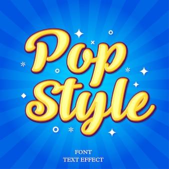 Efeito de letras modernas de estilo pop