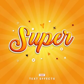 Efeito de letras super laranja