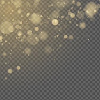 Efeito de luz abstrata. bokeh amarelo isolado em fundo transparente. brilho dourado. brilhos dourados. pontos embaçados aleatórios.