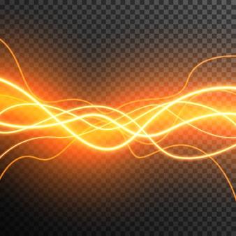 Efeito de luz abstrata brilhando vetor de ondas transparente