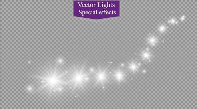 Efeito de luz abstrata semitransparente mágica trilha estrela brilho com desfoque de néon linha curva dispara. bokeh translúcido espumante cometa.