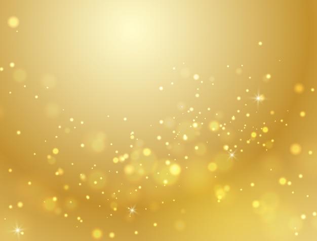 Efeito de luz abstrato do bokeh do ouro.