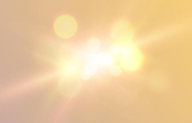 Efeito de luz amarela com reflexo de lente png vector