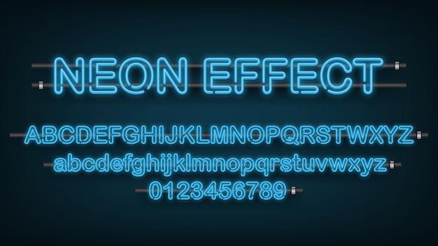 Efeito de luz azul neon, alfabeto inglês e sinal de número