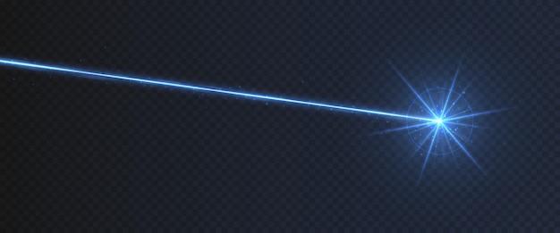 Efeito de luz azul raio laser isolado em fundo transparente. raio de luz de néon turquesa com brilhos.