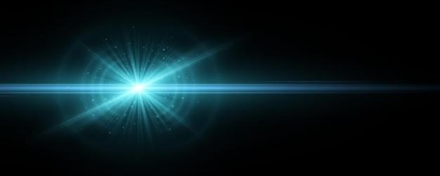 Efeito de luz azul sobre um fundo escuro. explosão com faíscas brilhantes. feixes mágicos. raios horizontais