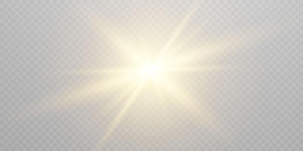 Efeito de luz brilhando. em fundo transparente preto.