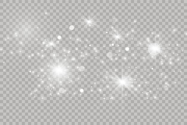 Efeito de luz brilhante branco isolado em fundo transparente. sinalizador brilhante. partículas de poeira de glitter mágico. star explodiu com brilhos. ilustração vetorial
