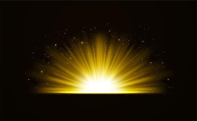 Efeito de luz brilhante brilhante dourado com fundo de estrelas