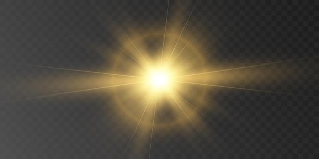 Efeito de luz brilhante com raios e destaques para ilustração vetorial
