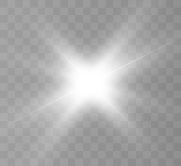 Efeito de luz brilhante com raios e destaques