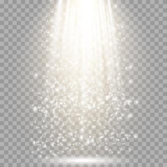 Efeito de luz brilhante com raios e vigas de ouro.