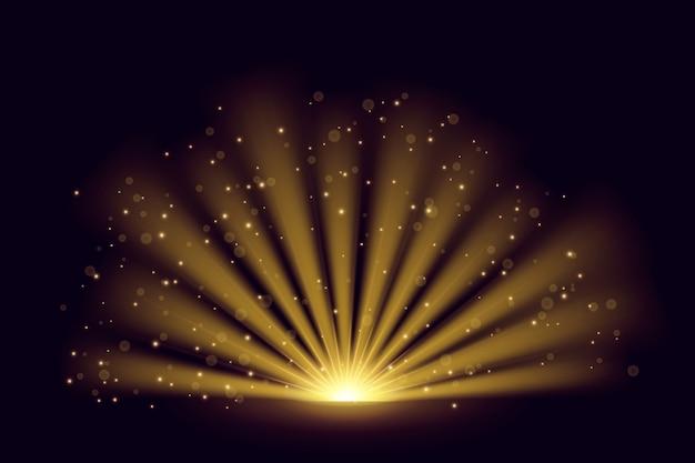 Efeito de luz brilhante do nascer do sol