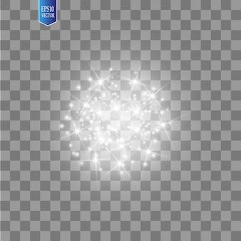 Efeito de luz brilhante em fundo transparente