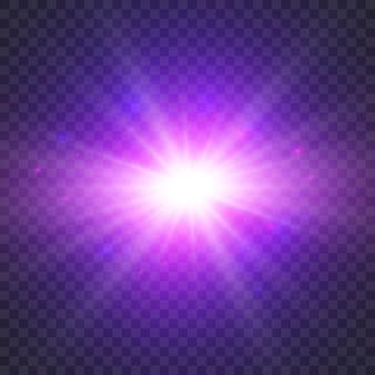 Efeito de luz brilhante em transparente.
