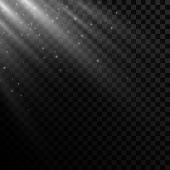 Efeito de luz brilhante em um fundo transparente.