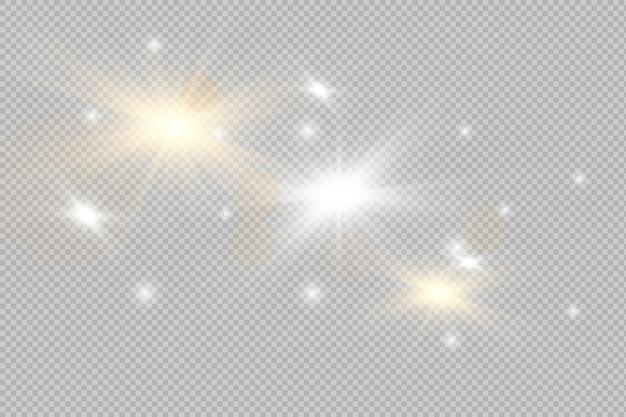 Efeito de luz brilhante. estrela estourou com brilhos. conjunto de faísca de luz dourada brilhante. borrão vector brilha coleção de design. flash explosivo, sol, flare e nuvem brilhante.