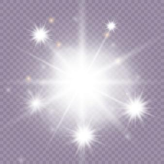 Efeito de luz brilhante. estrela estourou com brilhos. conjunto de faísca de luz dourada brilhante. borrão vector brilha coleção de design.