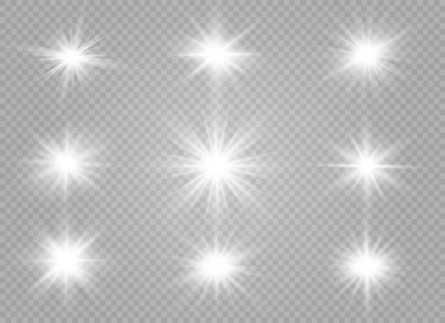 Efeito de luz brilhante. estrela estourou com brilhos.