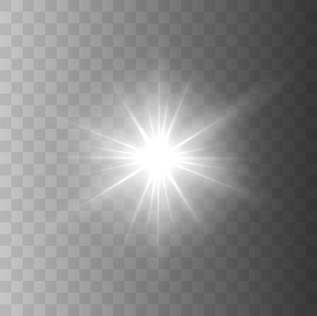 Efeito de luz brilhante faísca brilhante isolada no fundo transparente explosão de estrela de vetor