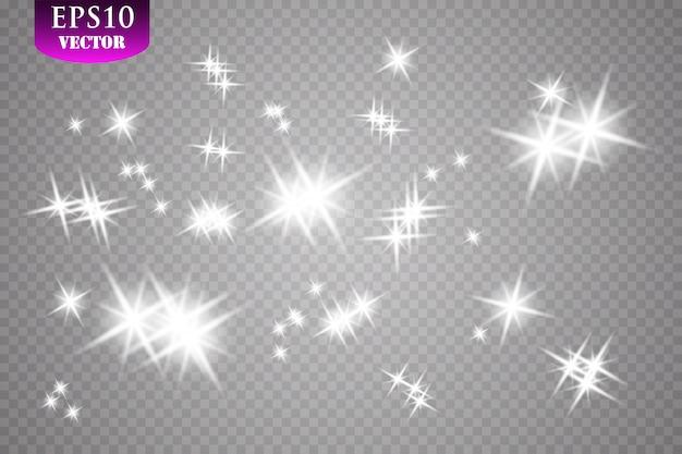 Efeito de luz brilhante. ilustração. pó de flash de natal.