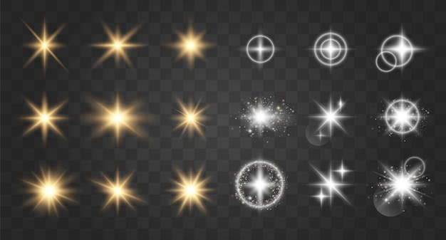 Efeito de luz brilhante. ilustração vetorial flash de natal. partículas de poeira mágica cintilante. estrela brilhante. sol brilhante e transparente, flash brilhante.