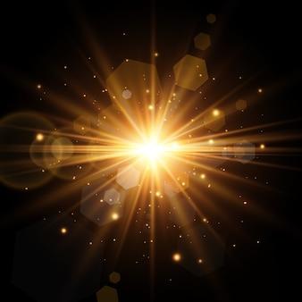 Efeito de luz brilhante. sol.