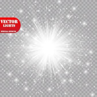 Efeito de luz brilhante. starburst com brilhos em fundo transparente. ilustração. sol