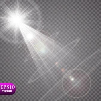 Efeito de luz brilhante. starburst com brilhos em fundo transparente. ilustração vetorial sol