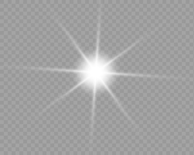 Efeito de luz brilhante. starburst com brilhos em fundo transparente.