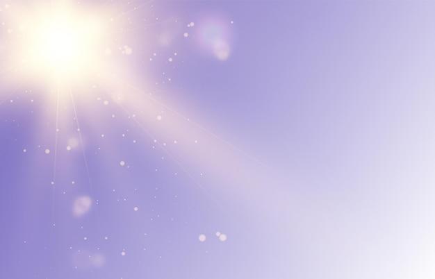 Efeito de luz brilhante vetorial com raios dourados e reflexos de lente