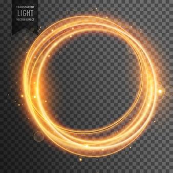Efeito de luz circular dourado fundo transparente