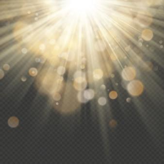 Efeito de luz com glitter, lantejoulas. raios brilhantes com bokeh. sol partículas e faíscas com um destaque.