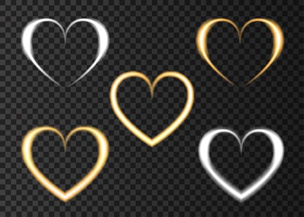 Efeito de luz de amor de coração de ouro e prata neon para feliz dia dos namorados