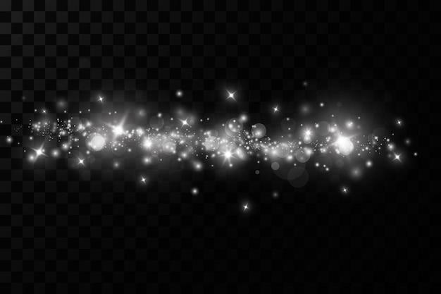 Efeito de luz de brilho. as faíscas de poeira e as estrelas brilham com luz especial