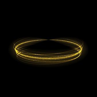 Efeito de luz de brilho dourado estrelado por rajadas com brilhos isolados