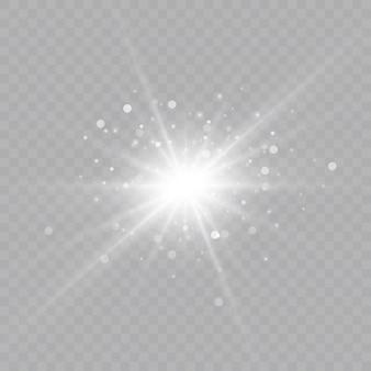 Efeito de luz de brilho. explosão de estrelas com brilhos. sol. ilustração