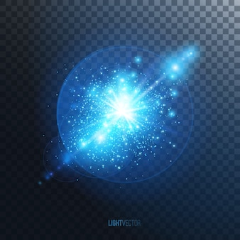 Efeito de luz de brilho, explosão roxa ou flash com partículas brilhantes