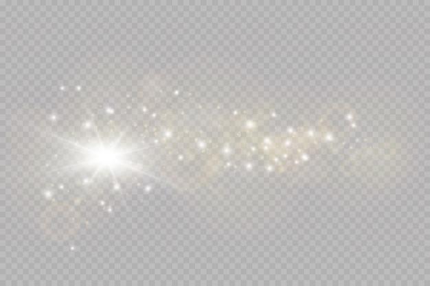 Efeito de luz de brilho. faísca isolada. partículas de poeira mágica cintilantes.