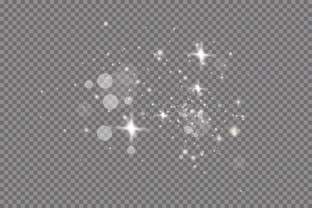 Efeito de luz de brilho. ilustração. flash de natal. poeira. queda de neve. decoração.
