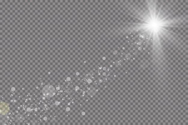 Efeito de luz de brilho. ilustração vetorial flash de natal. poeira. queda de neve. decoração.