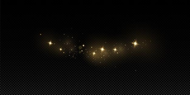 Efeito de luz de brilho. o vetor brilha. partículas de poeira mágica cintilantes. as faíscas de poeira e estrelas douradas brilham com uma luz especial.