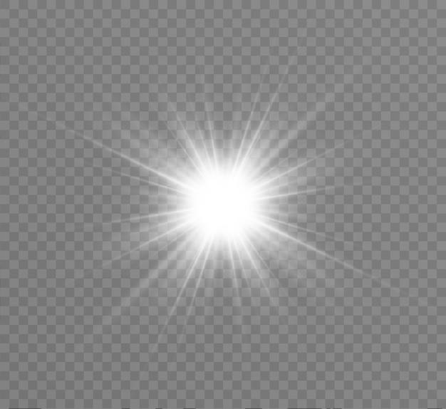 Efeito de luz de brilho. star explodiu com brilhos. ilustração