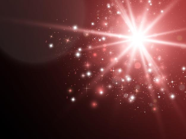 Efeito de luz de brilho. star explodiu com brilhos. sol.