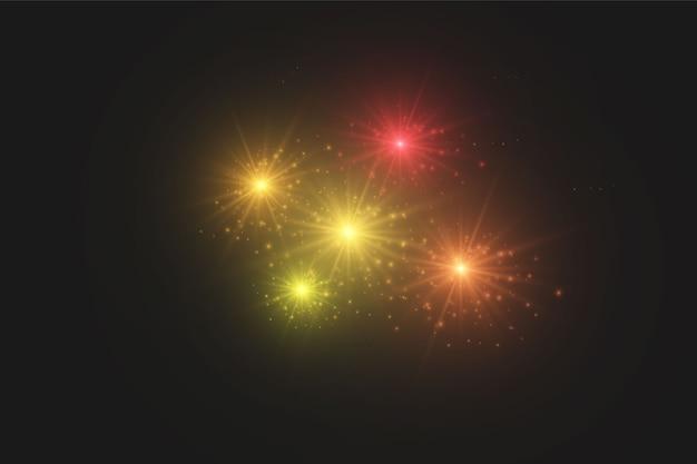 Efeito de luz de brilho transparente em fundo escuro