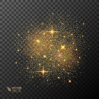 Efeito de luz de brilho transparente. star explodiu com brilhos. glitter dourado