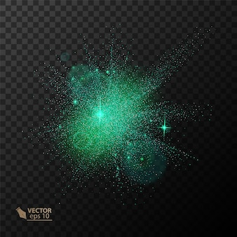 Efeito de luz de brilho transparente. star explodiu com brilhos. purpurina verde