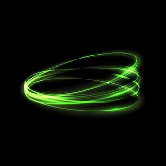 Efeito de luz de brilho verde estrelado por rajadas com brilhos isolados