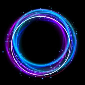 Efeito de luz de círculo brilhante. luzes de discoteca anel de halo. design de efeito de brilho para a festa.