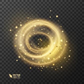 Efeito de luz de estrela brilhante com linhas curvas em amarelo neon